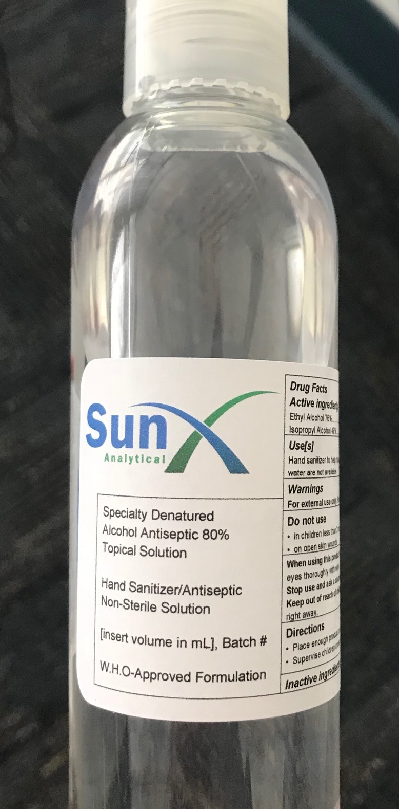 SunX Analytical Hand Sanitizer